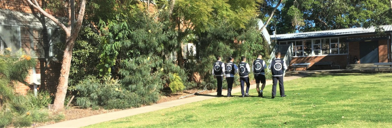 Grassed area with trees around edges and students walking through