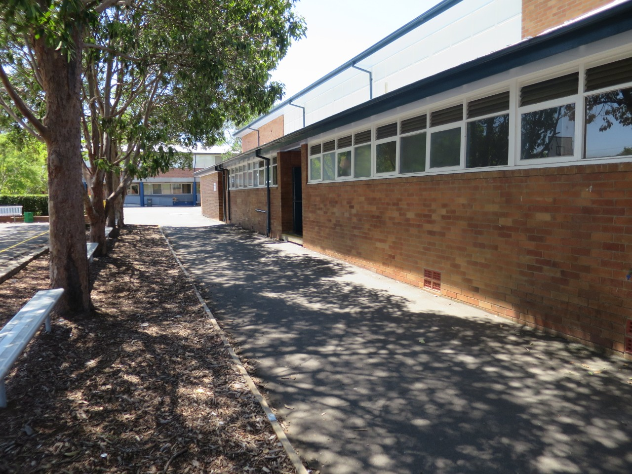 School grounds showing B block near the main entry to the school.