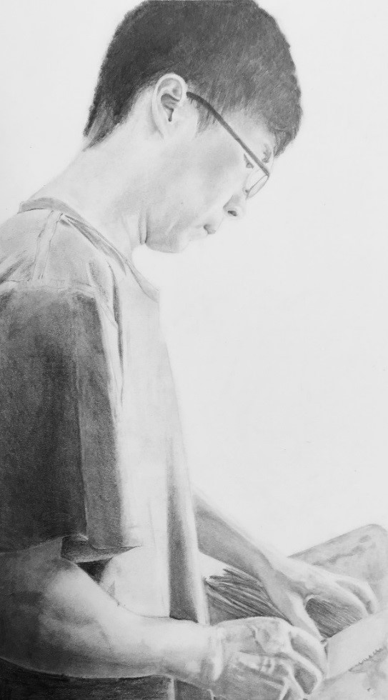 A pencil drawing of a students father at work