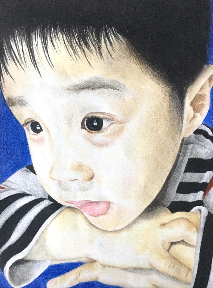 A coloured drawing of a students little brother